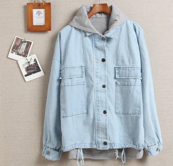 Light blue hooded denim two piece jacket