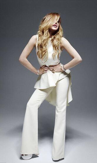 top lindsay lohan pants cream