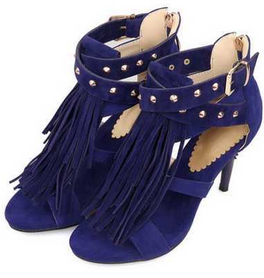 Tassel fringe sandals blue black purple gladiator straps rivet heels