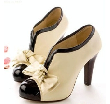 new fashion high heel shoes new sexy lady beige bow pump platform women shoes cd1-in Pumps from Shoes on Aliexpress.com