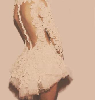 dress lace dress classy backless white dress cute fancy ballerina