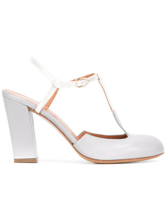 women pumps leather grey shoes