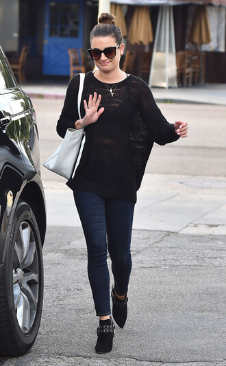 sunglasses lea michele sweater jeans ankle boots spring outfits