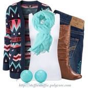 sweater,scarf,shoes,cardigan,ethnic,navy,mint,coral,multicolor,brown boots,high knee boots,knew boots,knee boots,blue scar,white camo,white cami tee,jeans,bottoms,outfit,fit,blue scarf
