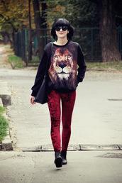 coat,romwe,leggings,red,black,lion,velvet,pullover,pants