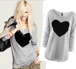 Online Shop Blusas Femininas 2014 Fashion Long Sleeve Heart Print T Shirt Women Clothing Casual T-Shirt Desigual Sweatshirt Plus Size Tops|Aliexpress Mobile