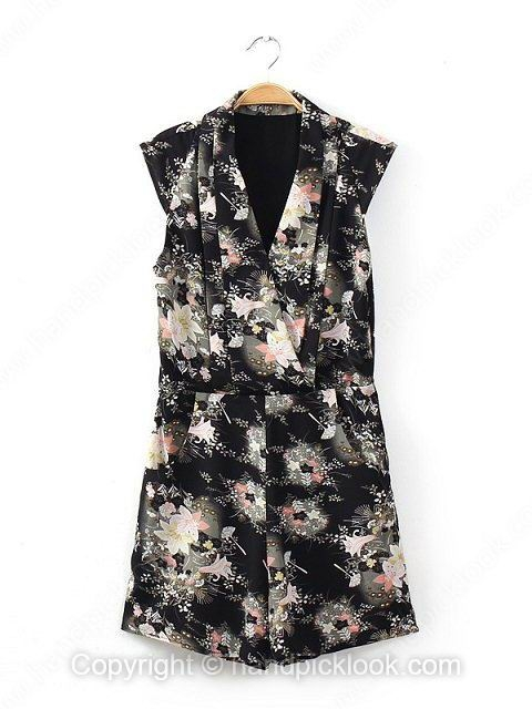 Black V-neck Cap Sleeve Flowers Print Jumpsuit - HandpickLook.com