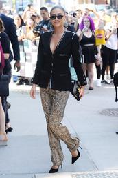 pants,shay mitchell,animal print,leopard print,celebrity,fall outfits,blazer