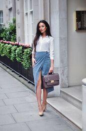 skirt,blue suede skirt,wrap skirt,blue skirt,suede skirt,bag,khaki bag,shirt,white shirt,shoes,nude shoes,blogger