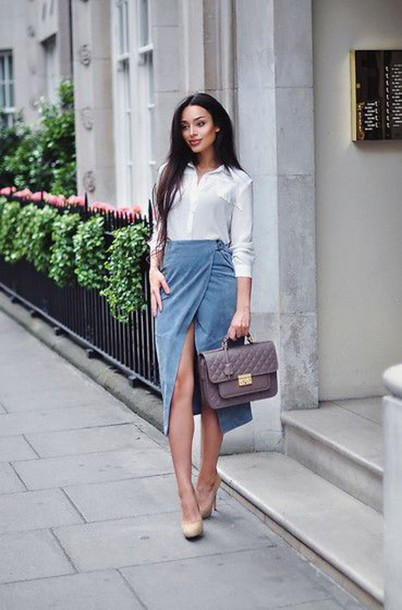skirt blue suede skirt wrap skirt blue skirt suede skirt bag khaki bag shirt white shirt shoes nude shoes blogger