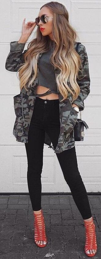 jacket camo jacket camouflage ripped shirt grey heels black pants leggings pants sunglasses make-up details on fleek fleek i slay beautiful pretty hair shirt