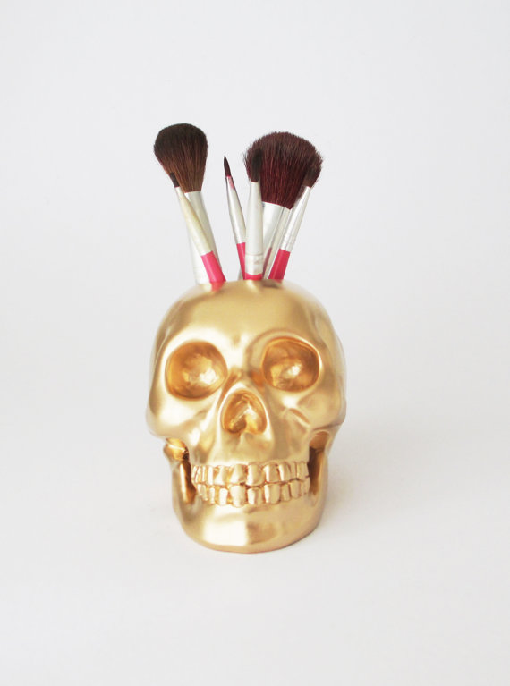 Skull brush holder, skull decor, skulls, human skull, skull figurine, gold skull, office decor, gift for her, hodi home decor, human skull,