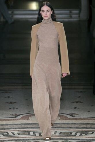 pants stella mccartney jumpsuit paris fashion week 2017 fashion week 2017 top high waisted wide-leg pants turtleneck