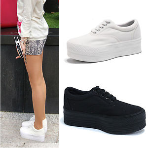womens black white canvas platform low top sneakers shoes
