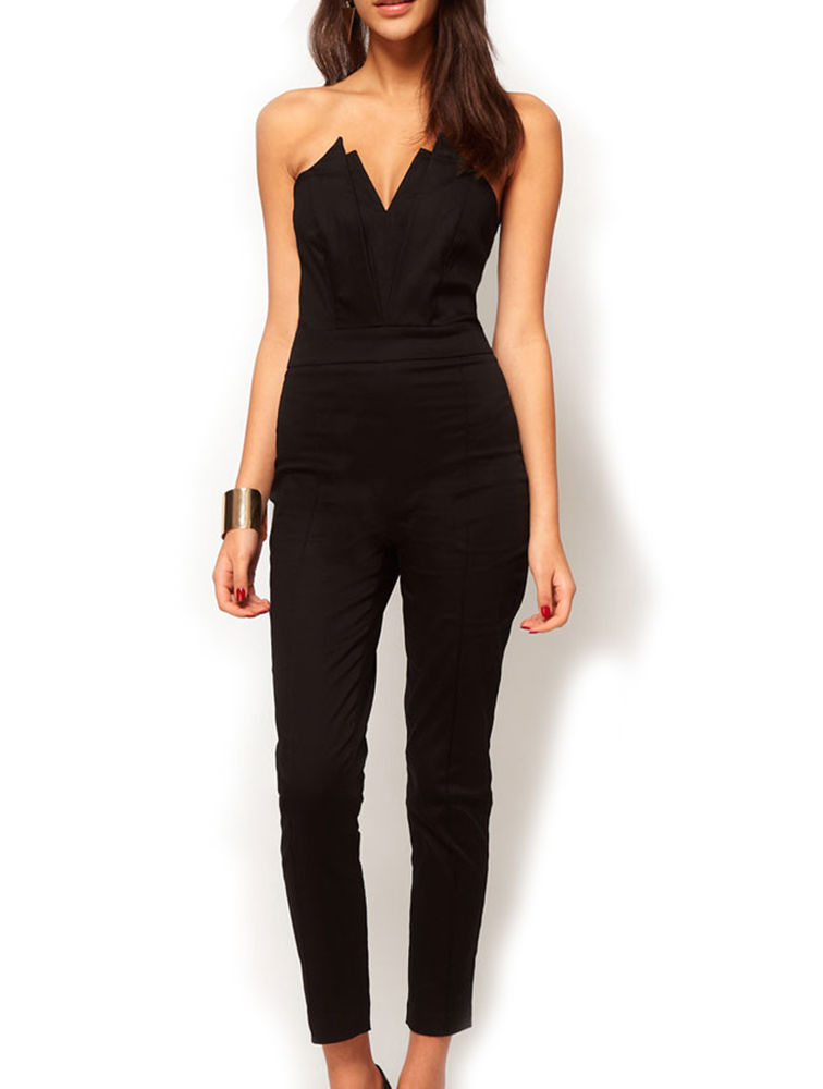 Sexy and elegant women's strapless jumpsuit backless v neck
