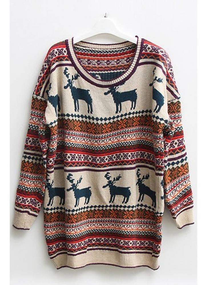 Nordic deer & stripes print oversized sweater