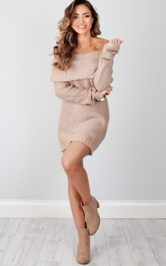 Oversized Off Shoulder Sweater Dress