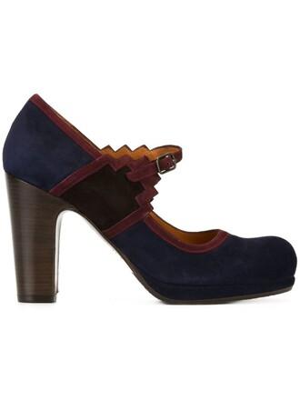 women pumps leather blue suede shoes