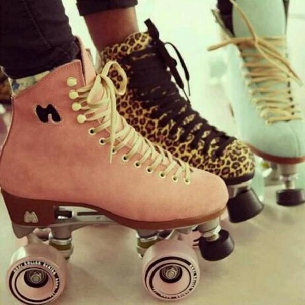 shoes vintage cute pastel pink mint leopard print roller skates roller skates