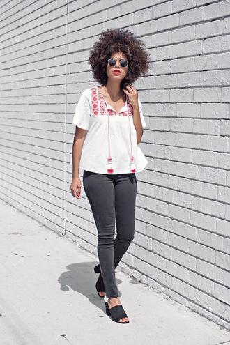 style me grasie blogger top jeans shoes sunglasses levi's zara shoes