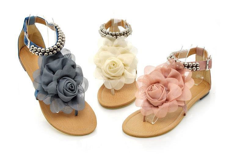 free shipping women's summer designer Beaded beauty flower sandals flip flops for lady shoes Size 34  43 Pink Beige Blue S002-in Sandals from Shoes on Aliexpress.com