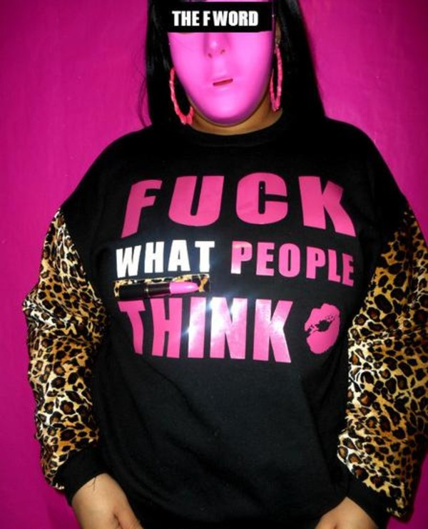sweater people lipstick pink black leopard print