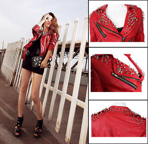 Womens Spike Studded Collar Shoulder PU Leather Hand Motorcycle Jacket Coat | eBay