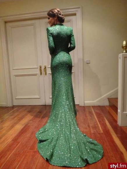 ball gown royal green classy long drape ball vintage  sequence dress
