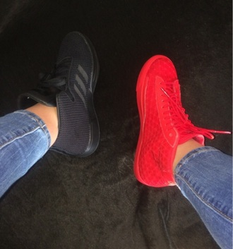 shoes black adidas red nikes