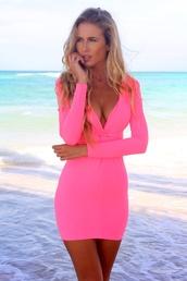 dress,dress hot pink,pink dress,tightfitted,pink dress summer spring,mini dress,neon,pink longsleeve dress,neon pink dress
