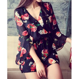 romper rose wholesale see through summer chiffon chic floral boho summer dress style