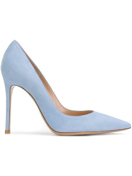 Gianvito Rossi women pumps leather blue shoes