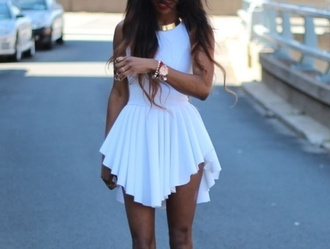dress white dress jewels birthday dress little white dress pretty white highlow dress white