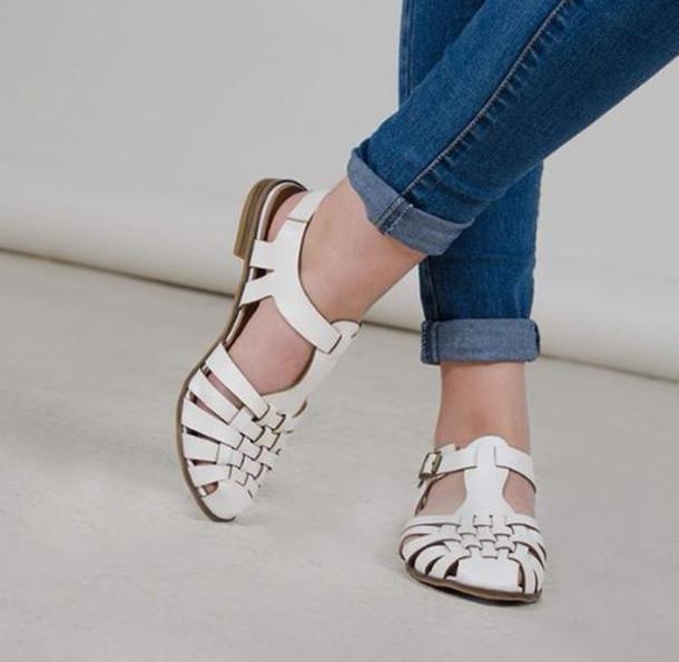 shoes jeans white sandals woven flats huarache white sandals white flats t strap