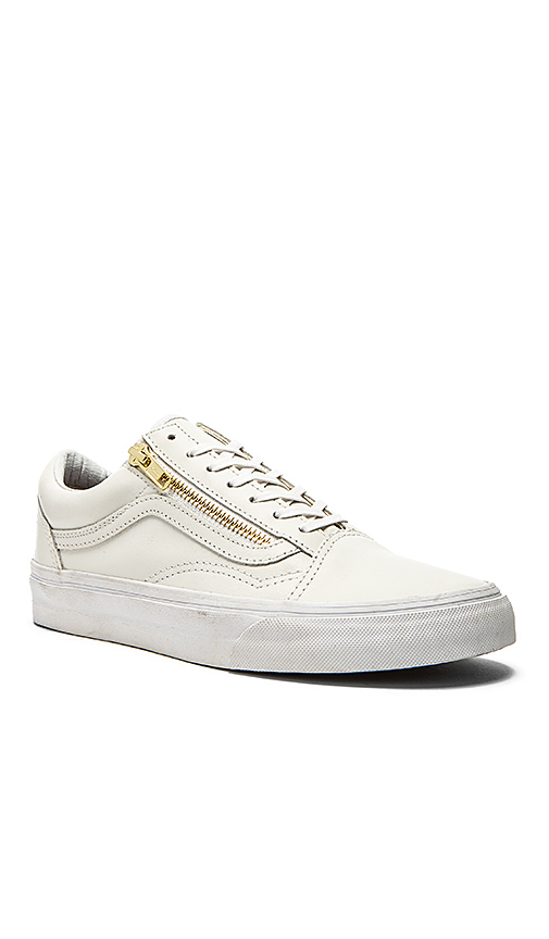 Vans Old School Zip Sneaker in True White   Gold from ... 809b304c73d7