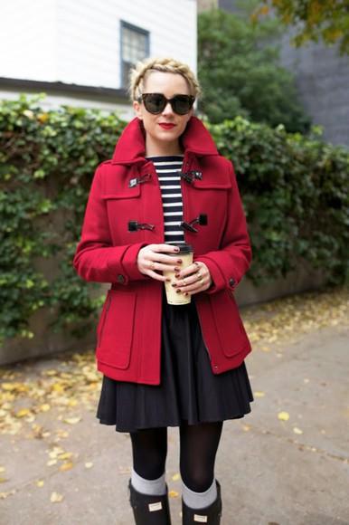 duffle coat atlantic pacific blogger sunglasses flare skirt