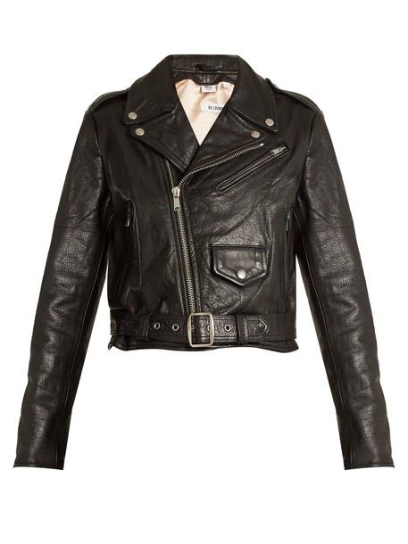 RE/DONE ORIGINALS jacket biker jacket cropped leather black