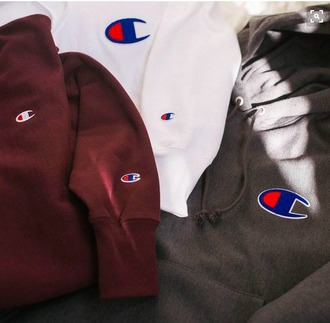sweater hoodie champion white red blue beige pinterest tumblr edgy champion hoodie champion long sleeve burgundy