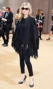 coat,fringes,cape,kate moss,fashion week 2015,jeans