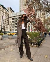 coat,checkered,white t-shirt,pants,high waisted pants,ankle boots,shoulder bag,mini bag
