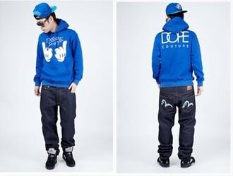 sweater dope blue hoodie hoodie