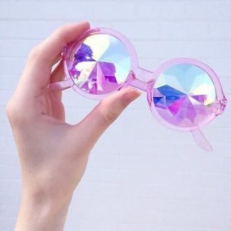 sunglasses holographic pink purple