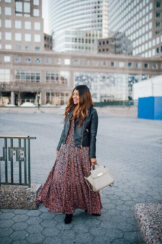 blogger dress jacket bag shoes jewels scarf maxi dress black leather jacket