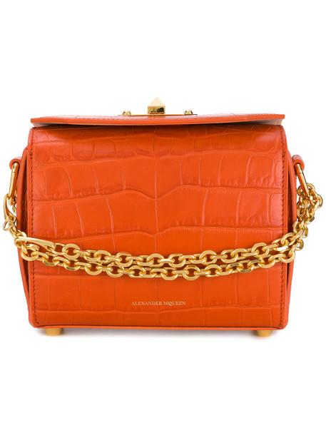 Alexander McQueen - Box Bag - women - Leather - One Size, Yellow/Orange, Leather