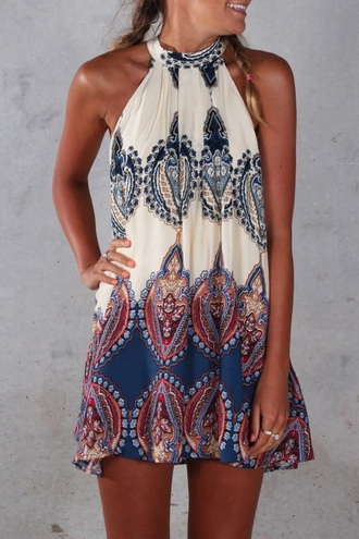 dress high neck mini dress shift dress colorful dress choker collar navy dress navy cream dress cream pattern print summer fashion style halter dress cardigan white blue funny spring beach designs summer dress trendy hot rose wholesale-jan boho dress colorful boho beach party printed dress beach dress