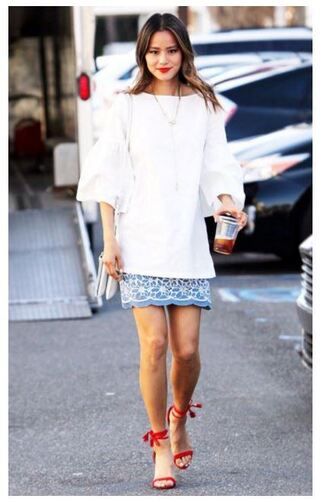 skirt sandals jamie chung blogger blouse tunic shoes