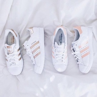 shoes adidas adidas superstars white pink