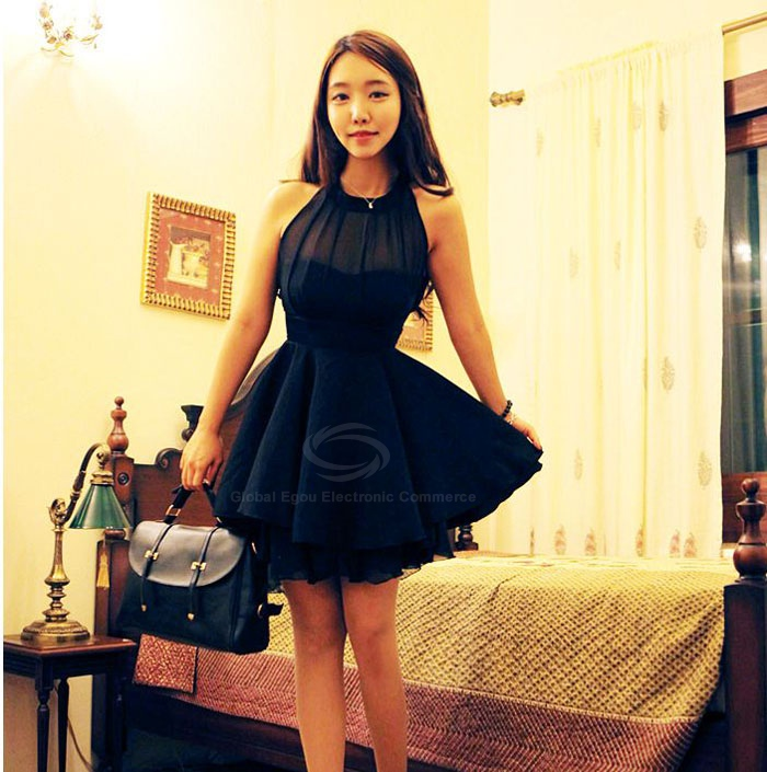 Stunning solid color beam waist irregular hem chiffon dress for women (black,one size) china wholesale