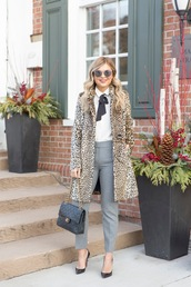 suburban faux-pas,blogger,jacket,blouse,pants,sunglasses,bag,shoes,animal print,animal print coat,chanel bag,pumps