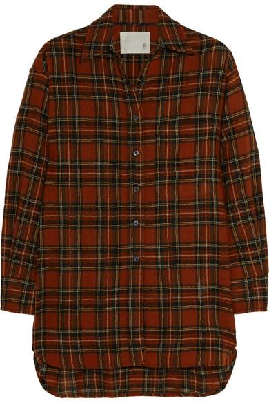 Oversized plaid wool shirt